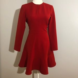 Zara red long sleeve dress